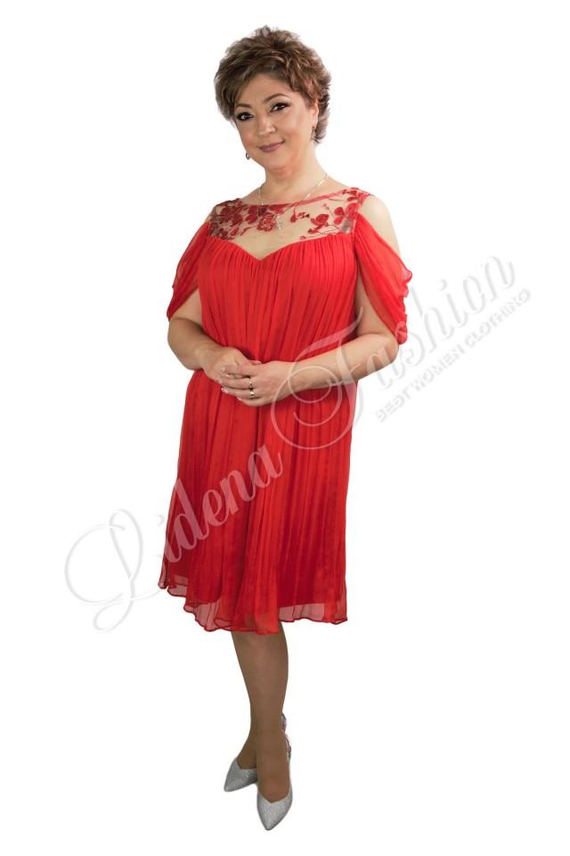 Rochie roșie mătase naturală Mădălina