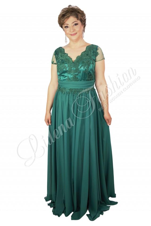 Rochie din dantelă lungă verde Petronela