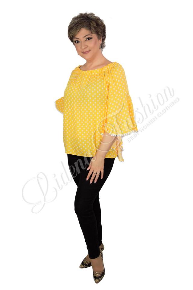 Bluză galbenă cu buline Elvira