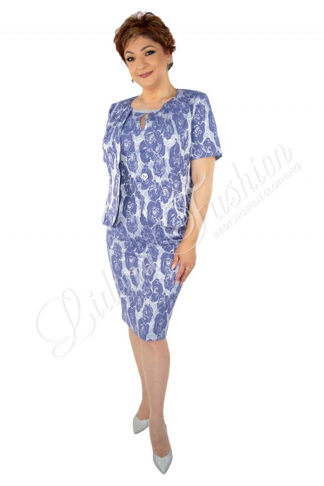 Costum damă din brocart cu imprimeu floral