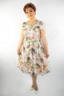 Rochie Eleganta din Voal Imprimat prevăzută cu cute