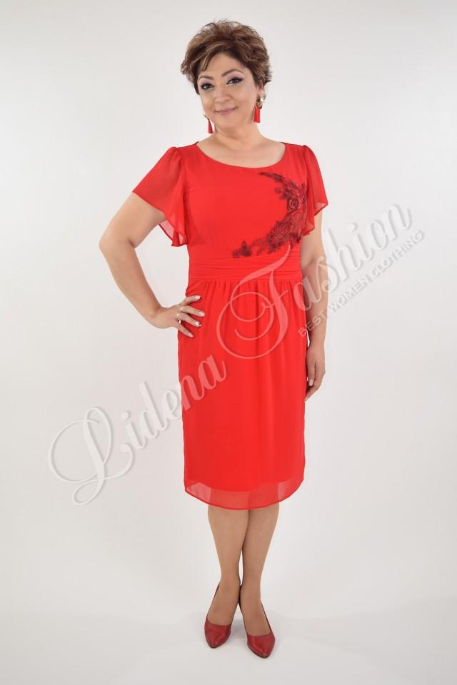 Rochie roșie din voal Aniela