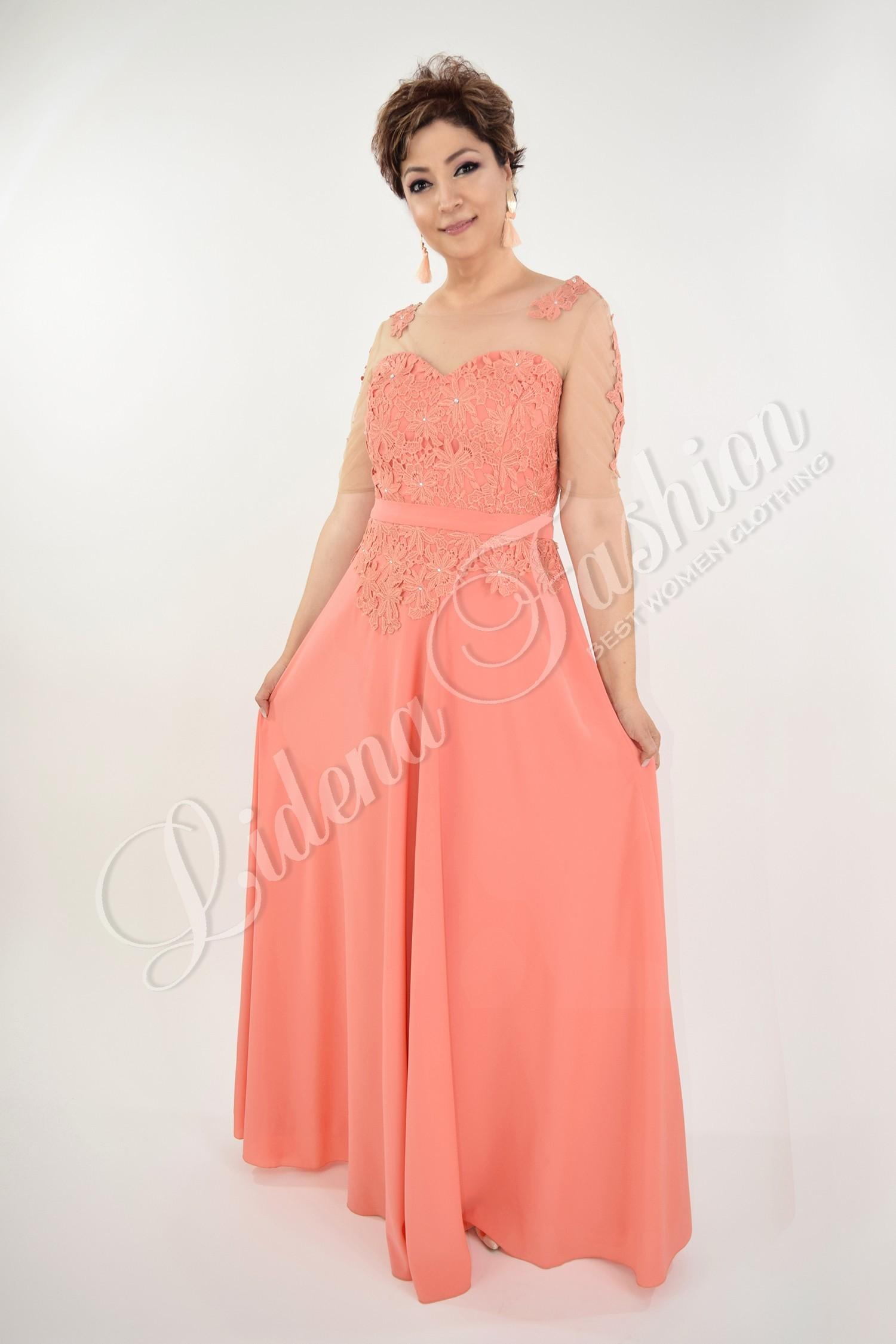 Rochie Anastasia lungă culoare Somon
