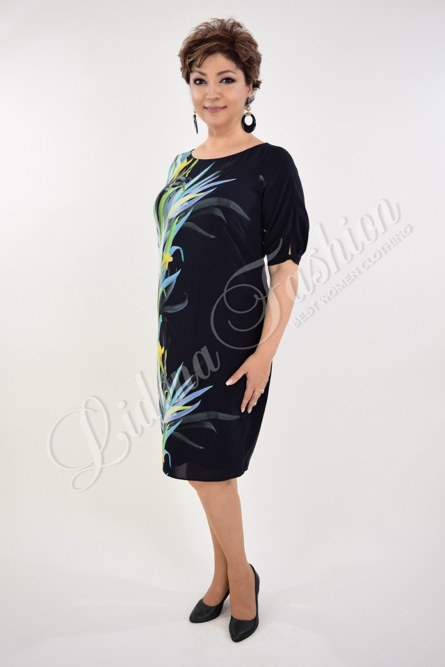 Rochie bleumarin cu motive florale Beatrice