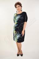 Rochie Beatrice bleumarin cu motive florale