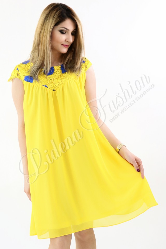 Rochie galbenă din voal și dantelă brodată Madelia